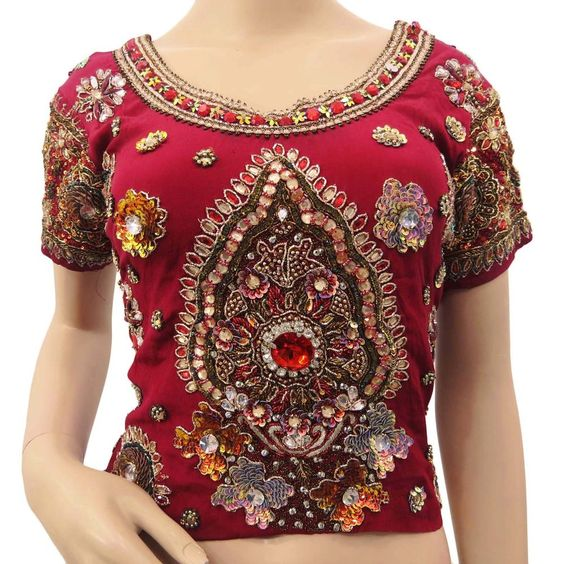 Vintage Bluse Antique Tunika Indian Maroon Hand Beaded Stoff Choli Long Top