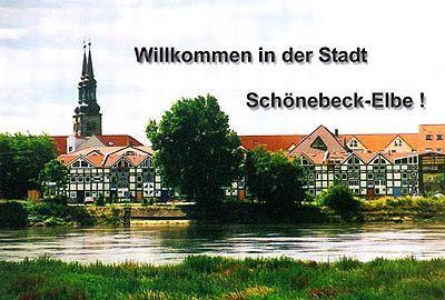 schönebeck elbe | Blick über die Elbe auf die Salinenhäuser und die Jakobikirche.