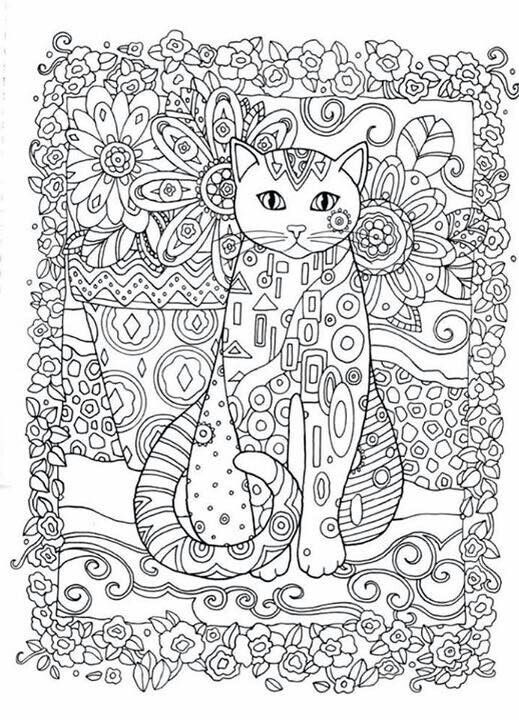 Zentangle Cat face Adult coloring page Digital pdf YepArt