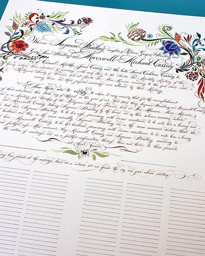 Quaker wedding certificate, no one officiates at a quaker marriage - marriage certificate