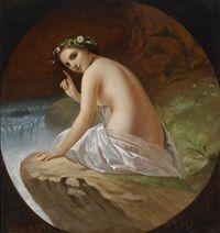Junge Frau, als Rückenakt auf einem Felsvorsprung sitzend by Timofey Andreyevich Neff