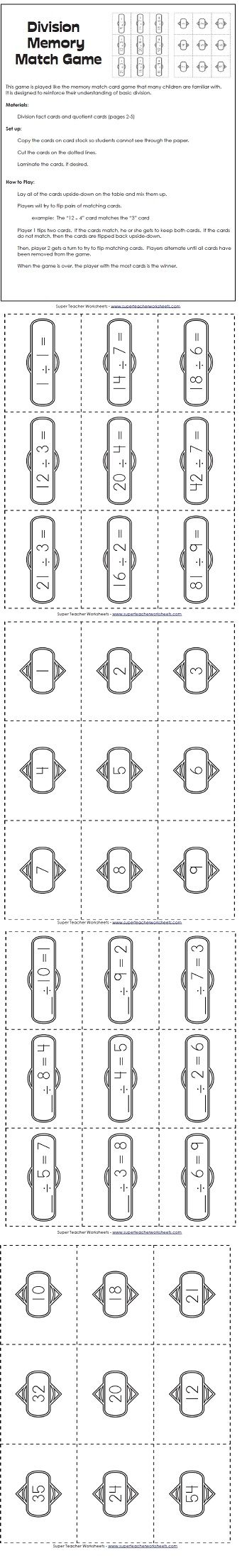 Practice Division Facts With This Fun Memory Match Game