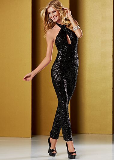 Black halter sequin jumpsuit paired with black patent peep toe ...