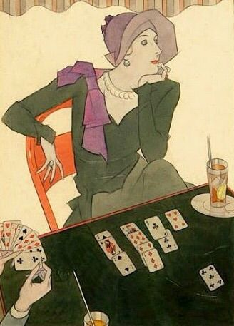 Joseph Bolegard (American, 1889-1963) - Card game (Illustration for Vogue), 1927 - Gouache and pencil on cardboard