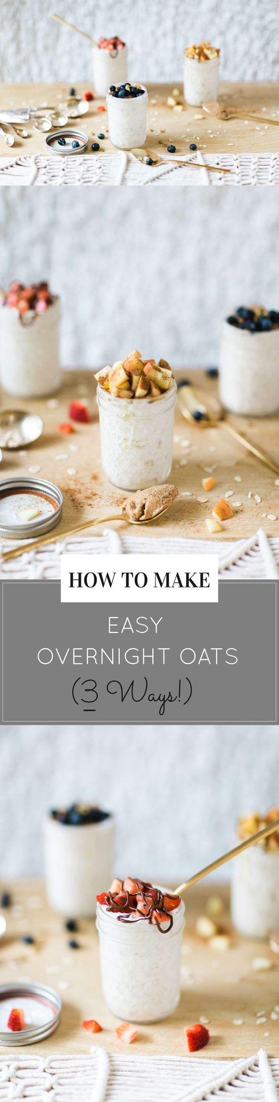 How to Make Easy Overnight Oats (3 Ways!)   overnight oats recipes   recipes for overnight oats   healthy breakfast recipes   easy breakfast recipes   recipes using oats    Glitter, Inc.