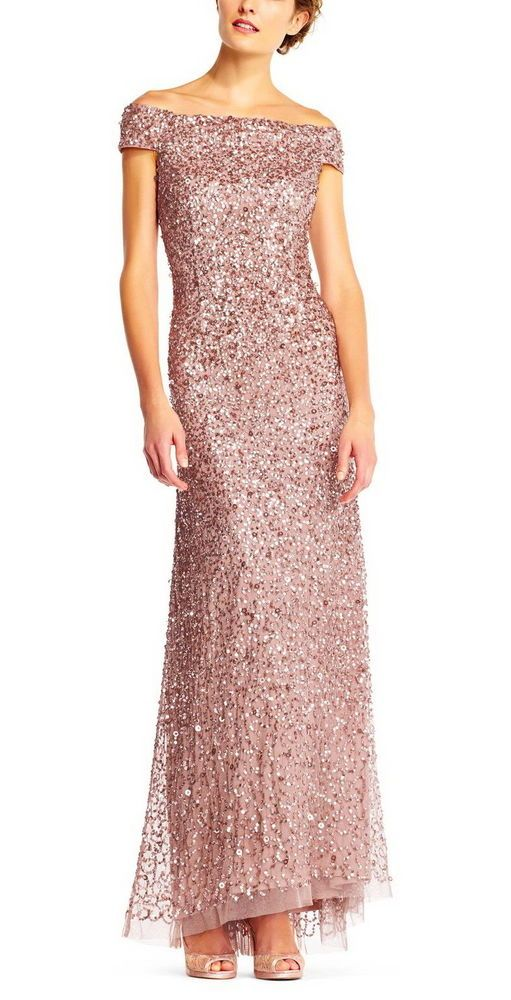 Adrianna Papell Women S Off The Shoulder Sequin Beaded Gown Rose Gold Sequin Gown Gowns Formal Dresses Long
