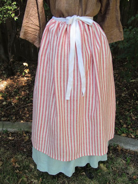Red and white stripe all linen colonial waist apron