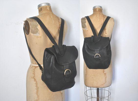 COACH Backpack Bookbag / black Leather knapsack bag by badbabyvintage on Etsy
