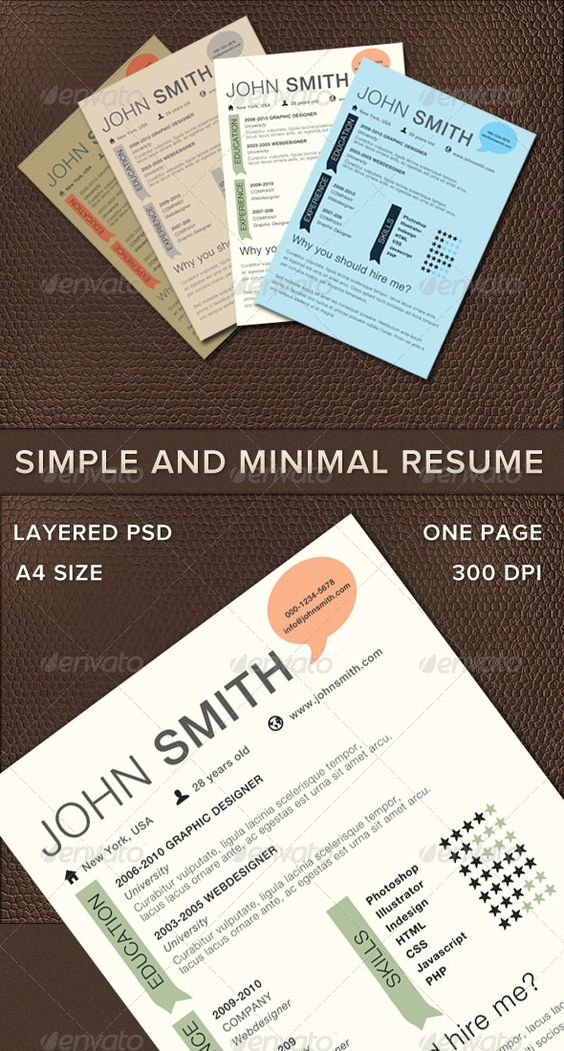 Simple And Minimal Resume Fonts, Creative and Columns - one page resume