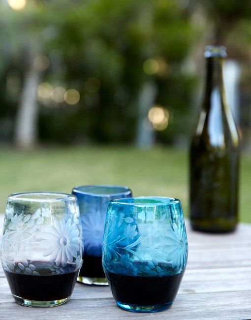 Stemless wine glass in aqua hand blown in mexico by rose ann hall designs it 39 s made from - Hand blown stemless wine glasses ...
