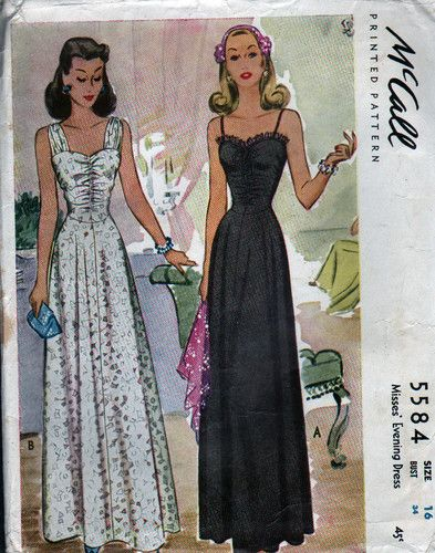 UNCUT 1944 VTG McCALL Sewing Pattern - EVENING DRESSES - Bust 34 ...