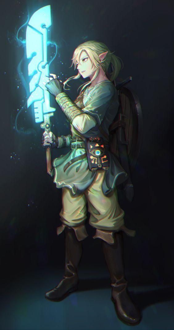 Link With Guardian Sword Legend Of Zelda Breath Of The Wild