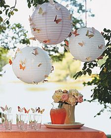 Let a flock of colorful paper butterflies loose, and you'll instantly give party decorations a lift. Trace the template onto a folded piece of paper, cut out the shape, and unfold the wings. (For different sizes, photocopy the template, reducing or enlarging the image.)