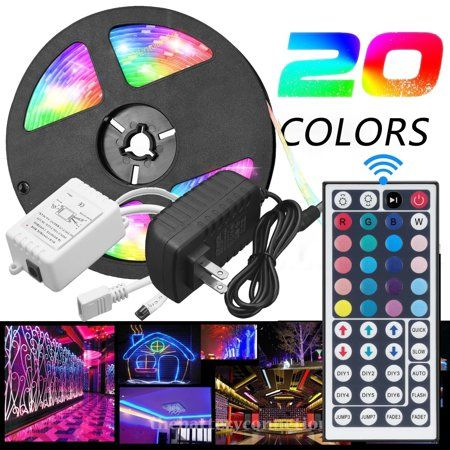 Vlight 5m Rgb 5050 Waterproof Led Strip Light Smd With 44 Key Remote And 12v Us Power Full Kit Walmart Com In 2020 Led Strip Lighting Strip Lighting Waterproof Led