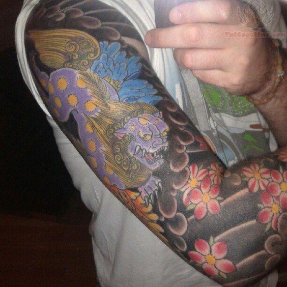 foo dog tattoo half sleeve - Google Search