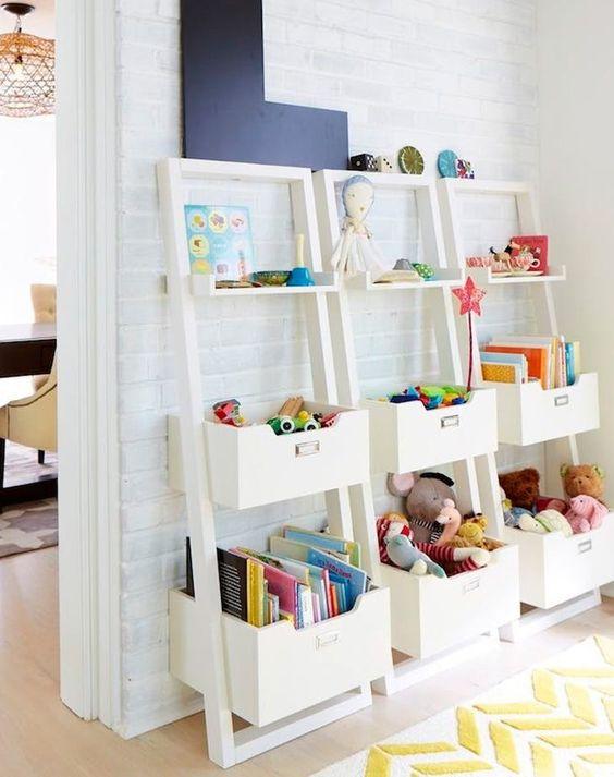 Nine brilliant, kiddo-optimized design ideas to keep a tidy playroom.