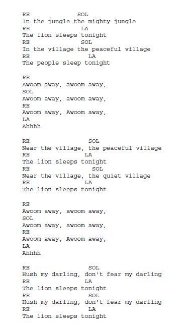 fabio vetro   Canzoni a scuola: The Lion sleeps Tonight- parole e accordi