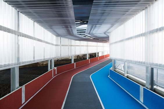 narita airport's new terminal has color-coded running tracks