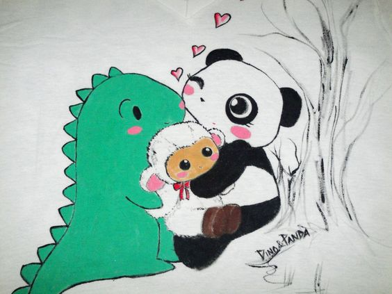 One-of-a-kind hand-painted Dino & Panda t-shirt from my series of 100 T-shirts back in 2012.   Dino & Panda enjoy an afternoon in the forest with Lambie Size: Medium V-Neck