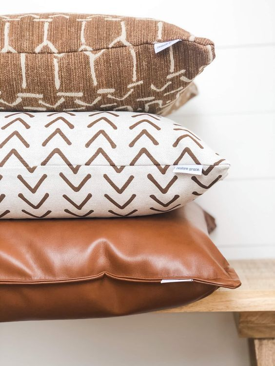 cognac brown faux leather throw pillow