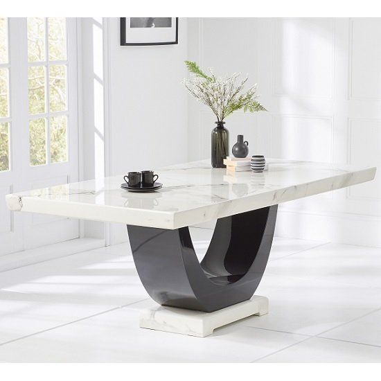 Allie Marble Dining Table Rectangular In White And Black Furniture In Fashion Dining Table Marble Marble Dining Dining Table