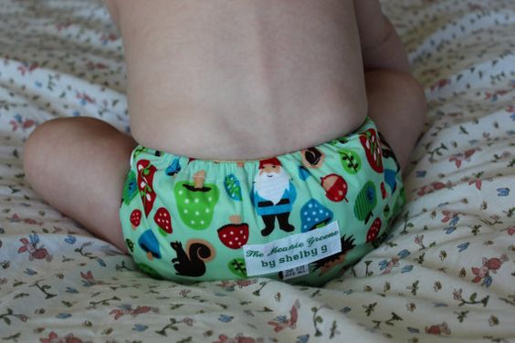 Woodland Gnomes  Waterproof Cloth Diaper with by TheMeanieGreene, $15.00