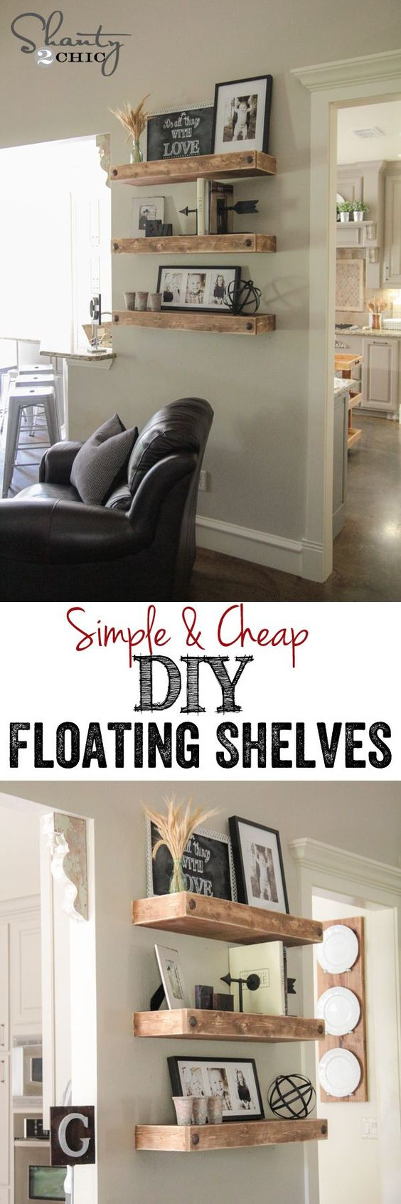 Floating shelves kitchen living rooms and sofa tables on for Diy living room ideas pinterest
