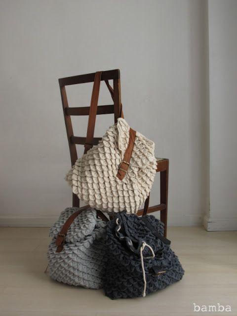 Crocheted Crocodile Stitch Backpack by 3127 Design Studio. ♥