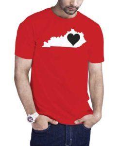 Love Kentucky Map T-Shirt Red