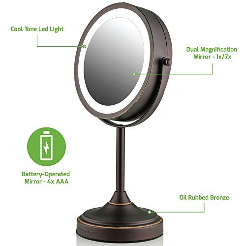 Led Lighted Tabletop Makeup Mirror, Oil Rubbed Bronze Lighted Make Up Mirror