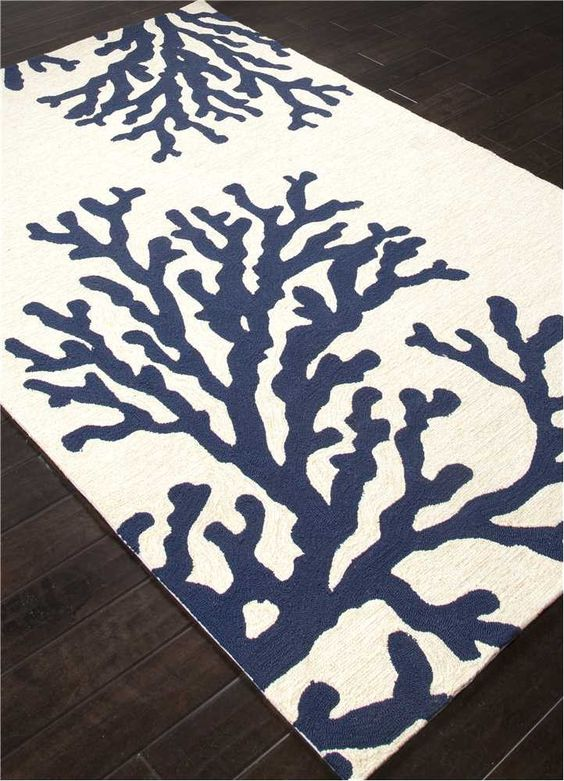 Coral Branch Out Area Rug Navy Blue And White Windows