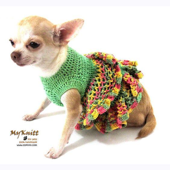 Dog Dresses Ruffle Handmade Crochet Unique Teacup