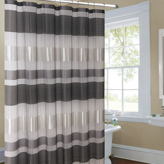 Curtains Ideas bed bath and beyond bathroom curtains : Metallic Striped Silver Fabric Shower Curtain - Bed Bath & Beyond ...