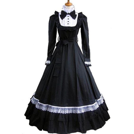 Gothic &Lolita Dress ゴシック・ロリータ 黒白 クラシック エレガント コットン ドレス 長袖 オーダメイド (€84) ❤ liked on Polyvore featuring dresses, lolita, long dress, gothic lolita dress, long dresses, goth dress, black gothic dress and gothic dress