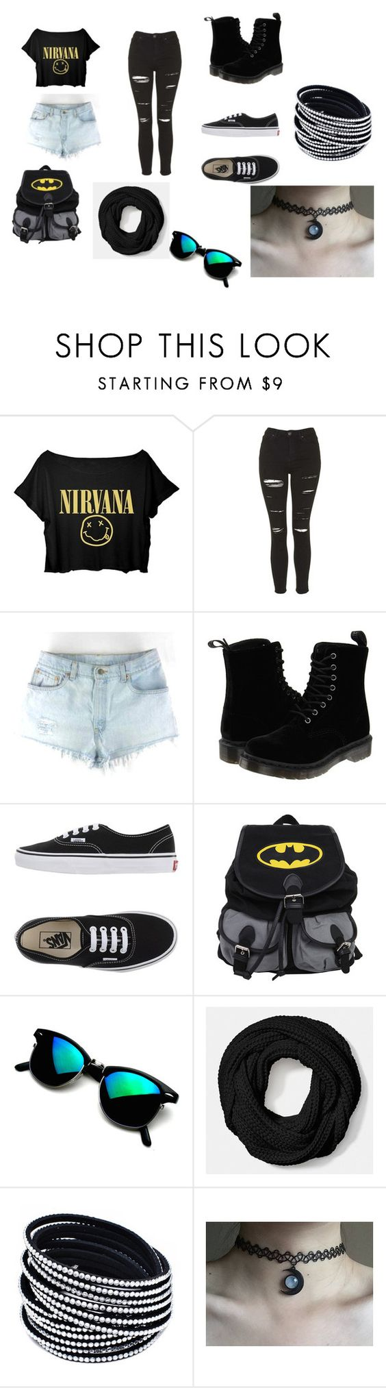 """""""tutto nero ma rock"""" by giuseppe-marasco on Polyvore featuring beauty, Topshop, Dr. Martens, Vans and Coach"""