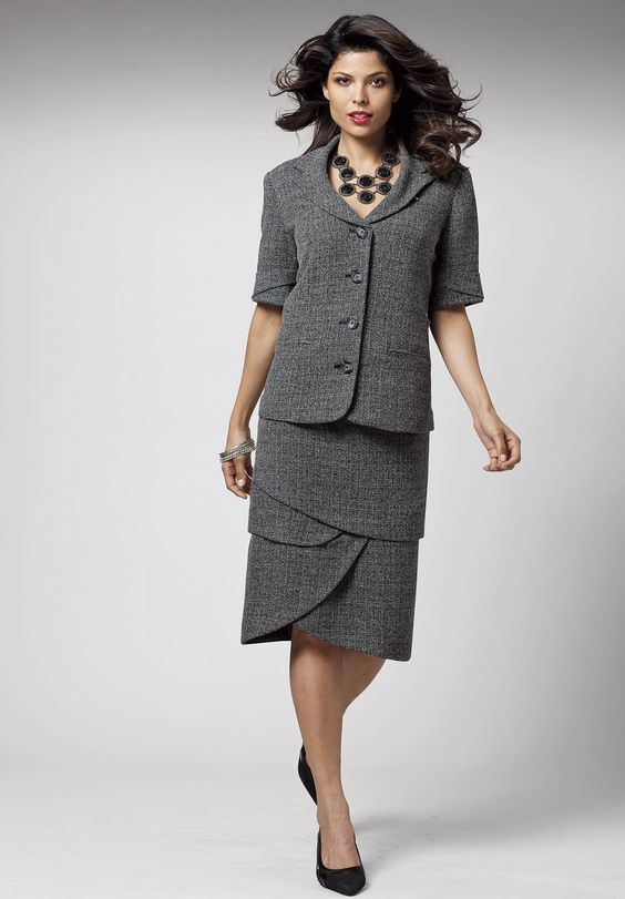 Plus Size Sculpted Tweed Skirt Suit | Plus Size Suits and Jacket