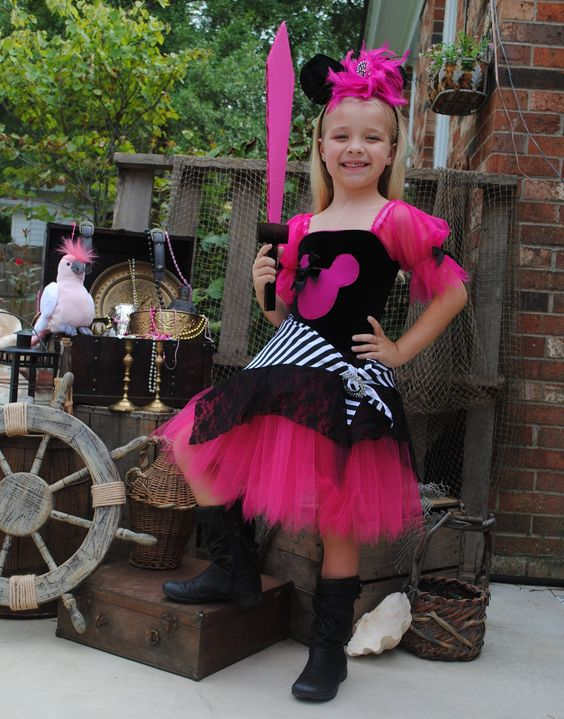 Custom Boutique Minnie inspired hot pink pirate tutu Halloween costume 18 months. $50.99, via Etsy.
