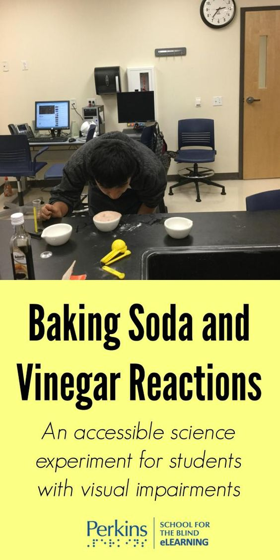 An accessible science experiment for students with visual impairments to study the reactions of baking soda and vinegar