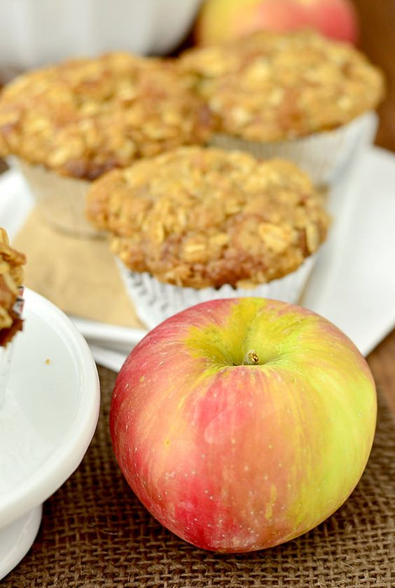 Apple Crisp Muffins -- these look AMAZING, and they're made with delicious Honeycrisp apples!