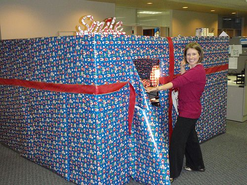 Wrapped office prank  Wrapped with love  Pinterest  ~ 070023_Christmas Decorations Ideas For Office Cube