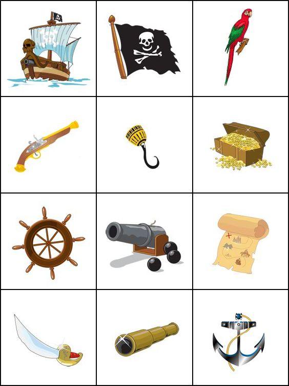 Jeu de mémoire, les pirates. Imprimer 2 fois la planche pour créer un jeu de memory.