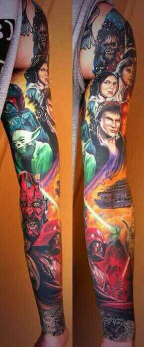 A wonderfully tattooed arm that is Star Wars themed. A tattoo is a significant piece of art that is permanently tattooed onto a person's body. This Star Wars fan decided to get a tattoo sleeve of various fictional characters from the series, that will remain there for the rest of his/her life. Die hard fan.