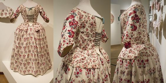 Ensemble of informal jacket and skirt. Jackets like these were most likely worn as 'undress', informal wear. The sleeves are of higher quality Indian chintz, the main part of the jacket of european cotton. Jacket: 1740-1770. Collection page:https://www.modemuze.nl/collecties/informeel-vrouwenjak-met-rijgsluiting-lijf-van-bedrukt-katoen-en-mouwen-van-indiase-sits