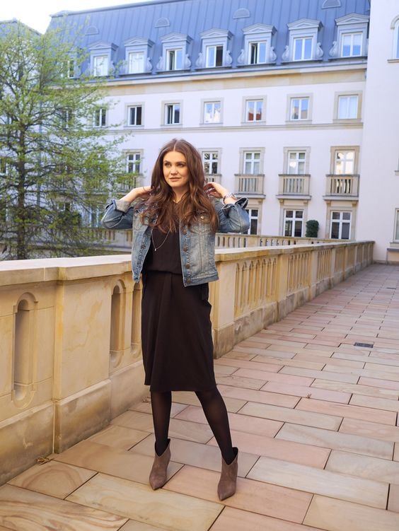 Denim and The little black Dress for an Evening in Frankfurt - La petite Olga. LBD+denim jacket+brown booties. Spring outfit 2016