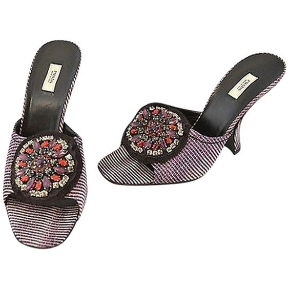 Pre-owned Prada Purpleblack Print Heeled Sandals Wglorious Crystal... ($231) ❤ liked on Polyvore featuring shoes, sandals, mule sandals, crystal shoes, slipon shoes, mule shoes and print shoes