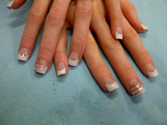 Acrylics and nail art performed on a client for prom.