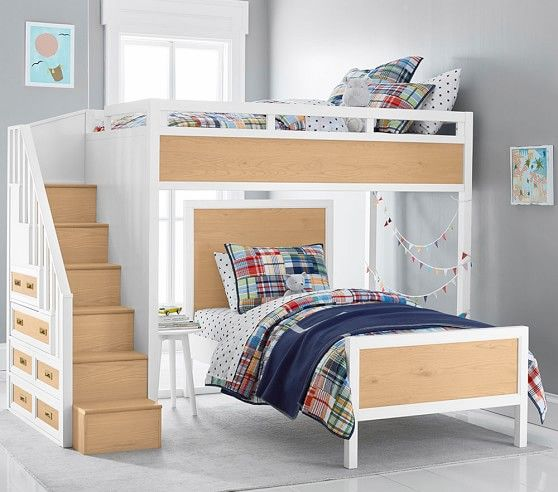 Drew Stair Loft Bed Amp Lower Bed Set Low Loft Beds Loft Bed Bedding Sets