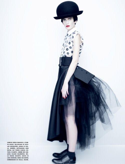 """Dots/Stripes/Black/White""  Publication: Vogue Italia, February 2011  Model: Valerija Kelava  Photographer: Paolo Roversi  Stylist: Jacob K"