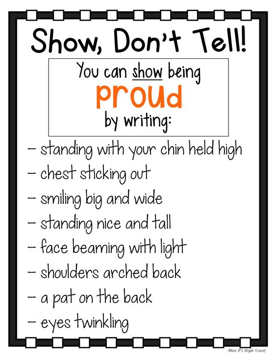 My students have such a hard time with adding description to their writing. These Show Don't Tell charts help elementary students to write with more expression and to show action. Each anchor chart comes with a commonly overused word in writing and examples of how to show that word with detail. Great for revising, writing journals and notebooks, wall posters and more! #showdonttell #writingstrategy #writersworkshop #anchorcharts #descriptivewriting #narrativewriting