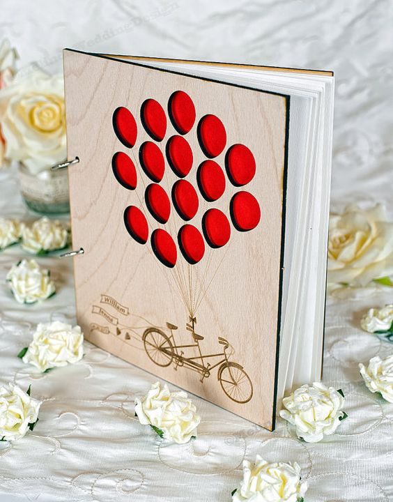 Love Tandem Bike Balloons Wedding Guest Book or Bridal Shower Advice Book